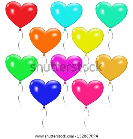 Ten multicolored balloons in the shape of hearts with ribbons