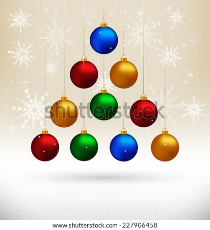 Ten multicolored Christmas balls hanging like fir tree on beige background with snowflakes - stock vector