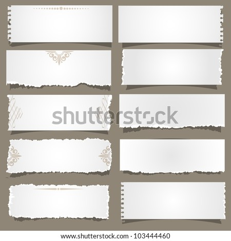 Ten notes paper .Vector eps 10 - stock vector