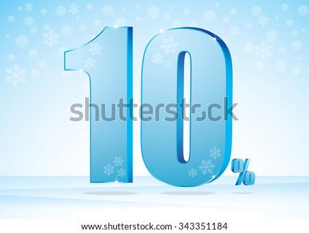 ten percent on snow background  - stock vector