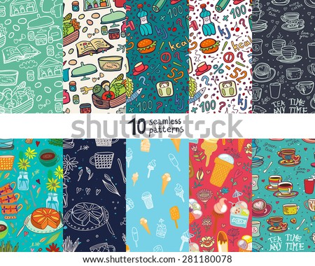 Ten seamless pattern with food and drink. - stock vector