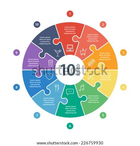 Ten sided, numbered flat rainbow spectrum colored puzzle presentation infographic chart with explanatory text field isolated on white background. Vector graphic template. - stock vector