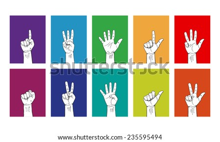 Ten Style Hand Sign-Right Hand - stock vector