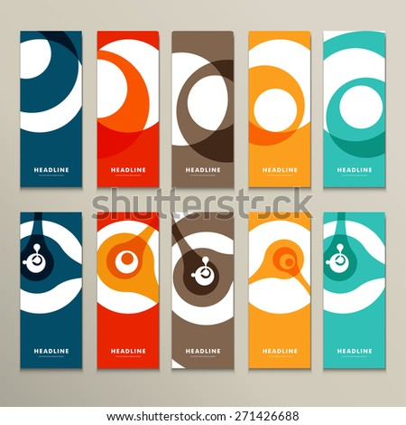 Ten vector pattern with abstract figures brochures. - stock vector
