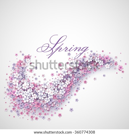 Tender background with spring pink abstract flower wave. Spring abstract vector background. Pink and white spring flowers. Paper spring design.  - stock vector