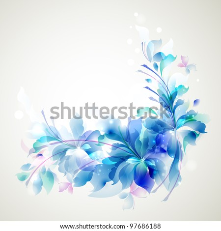 Tender background with three abstract flower and small butterflies - stock vector