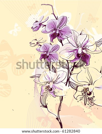 tender twig blossoming orchids on a light background with butterflies - stock vector