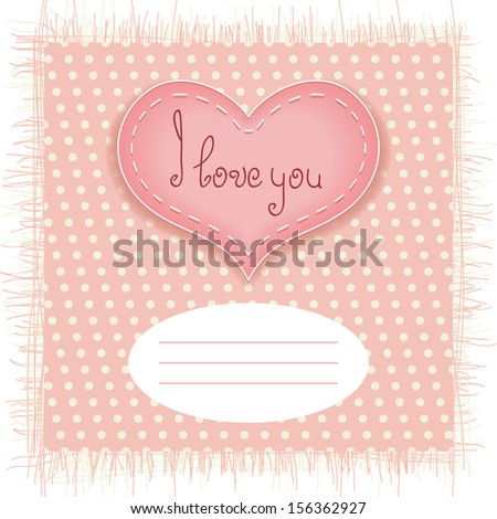 Tender Valentines day card with heart on fabric