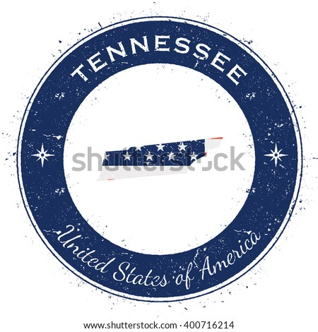 Tennessee circular patriotic badge. Grunge rubber stamp with USA state flag, map and the Tennessee written along circle border, vector illustration.