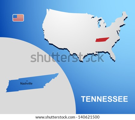 Tennessee on USA map with map of the state
