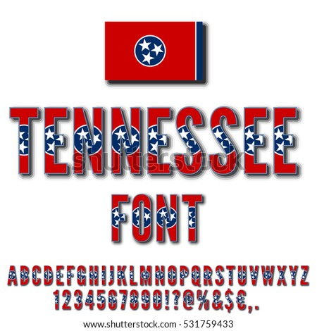 Tennessee Usa State Flag Font Shadows Stock Vector 531759433