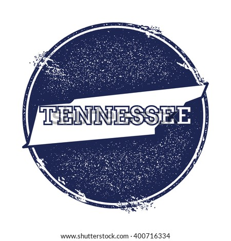 Tennessee vector map. Grunge rubber stamp with the name and map of Tennessee, vector illustration. Can be used as insignia, logotype, label, sticker or badge of USA state. - stock vector