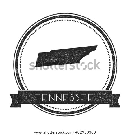 Tennessee vector map stamp. Retro distressed insignia with US state map. Hipster round rubber stamp with Tennessee state text banner, USA state map vector illustration. - stock vector