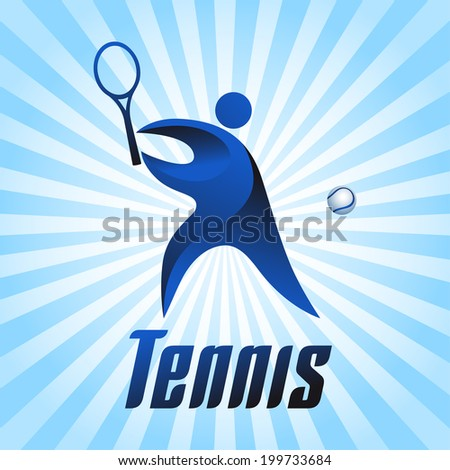 Tennis, athlete on blue striped background, vector illustration - stock vector