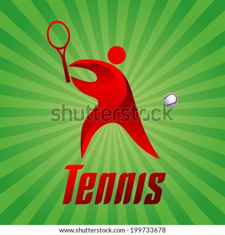 Tennis, athlete on green striped background, vector illustration - stock vector