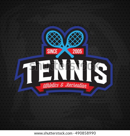 Tennis badge logo template,sport t-shirt graphics. Club emblem, college league logo, sport tournament, championchip design