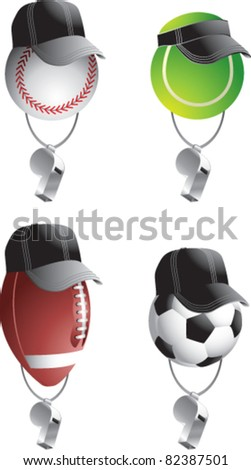 Tennis ball, baseball, football, and soccer balls with hats and visors and whistles - stock vector