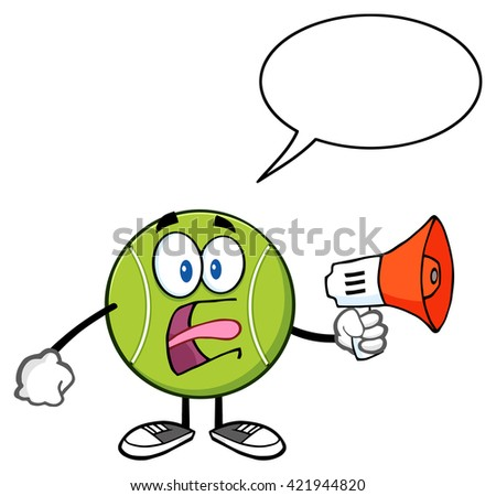 Tennis Ball Cartoon Mascot Character An Announcement Into A Megaphone With Speech Bubble. Vector Illustration Isolated On White - stock vector