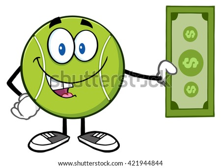 Tennis Ball Cartoon Mascot Character Holding A Dollar Bill. Vector Illustration Isolated On White - stock vector