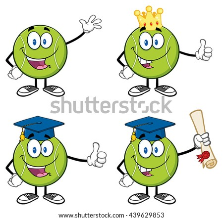Tennis Ball Cartoon Mascot Character. Vector Illustration Isolated On White Background Collection Set 3