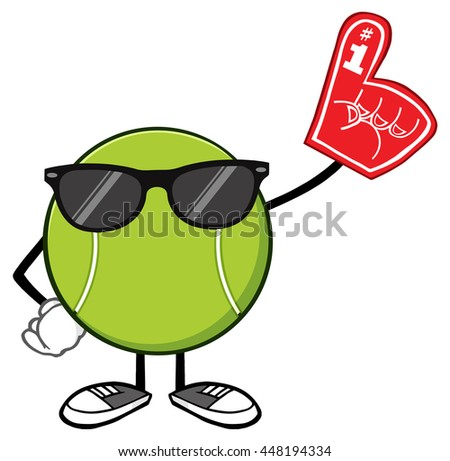 Tennis Ball Faceless Cartoon Mascot Character With Sunglasses Wearing A Foam Finger. Vector Illustration Isolated On White Background - stock vector