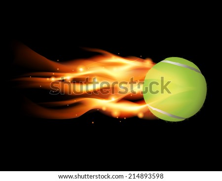 Tennis ball flying on fire illustration. Vector EPS 10. EPS file contains transparencies and gradient mesh. - stock vector