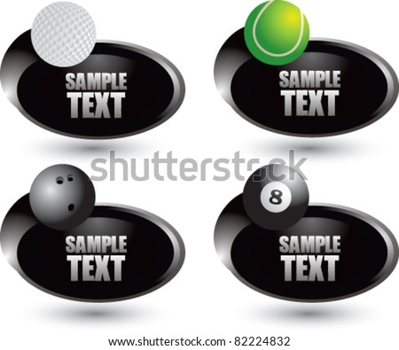 Tennis ball, golf ball, bowling ball, and eight ball on silver swoosh banners - stock vector