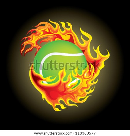 tennis ball in flame
