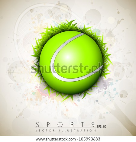 Tennis ball on grungy colorful background. EPS 10.