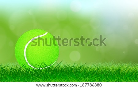Tennis ball on lush grass background