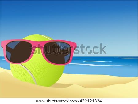 Tennis ball on the beach sand - stock vector
