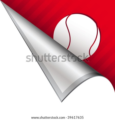 Tennis ball sports icon on vector peeled corner tab suitable for use in print, on websites, or in advertising materials.