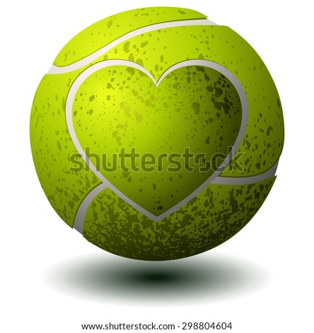 Tennis Ball with a Heart Imprint, Vector Illustration isolated on White Background. - stock vector