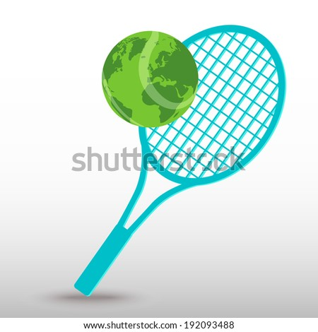 Pink tennis racket ball vector icon stock vector 533290654 tennis ball with world map gumiabroncs Images