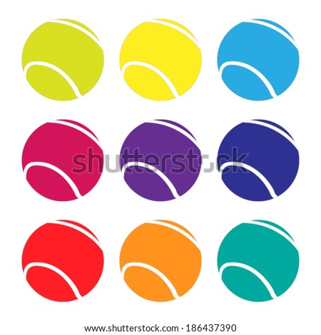Tennis Balls in Different Colours - stock vector