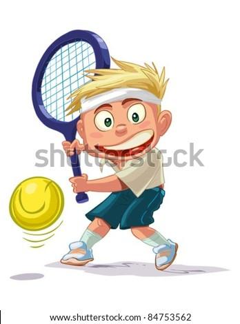 tennis boy - stock vector