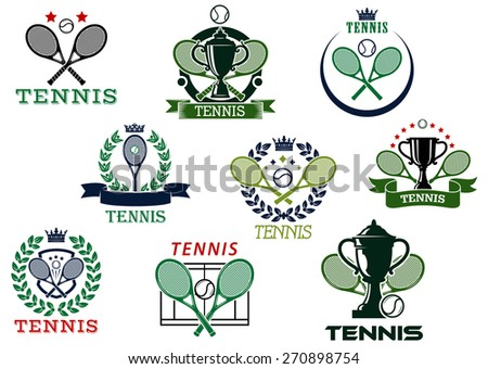 Tennis competition emblems or icons depicting tennis balls, crossed rackets and trophy cups with heraldic and decor elements