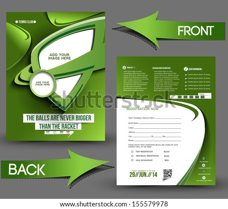 Tennis Competition Front & Back Flyer Template  - stock vector
