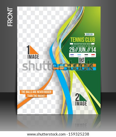 Tennis Competition Front Flyer Template - stock vector