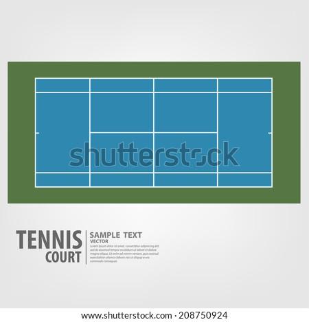 Tennis court. Blue colors. - Vector illustration - stock vector