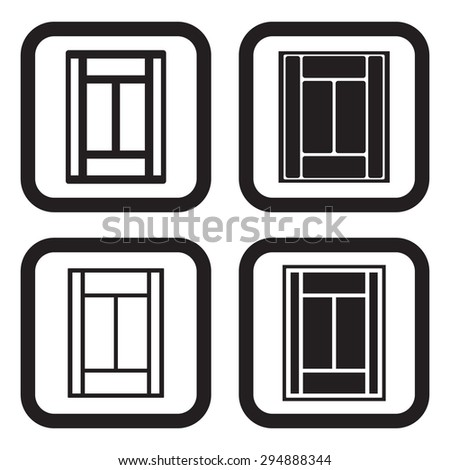 Tennis court icon in four variations - stock vector