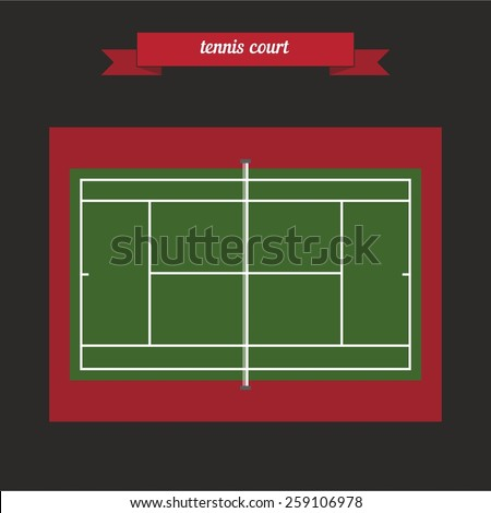 Tennis court. With the racket and tennis ball.. Flat style design - vector - stock vector
