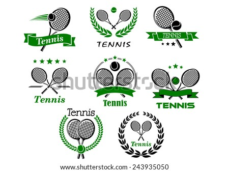 Tennis emblems, banners, symbols and icons with rackets, balls, wreaths, ribbons for sport logo or tournament design - stock vector