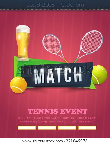 Tennis Event Poster Template Vector Background  - stock vector