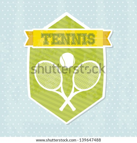 tennis icon over blue background vector illustration - stock vector