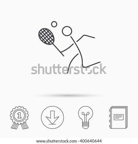 Tennis icon. Racket with ball sign. Professional sport symbol. Download arrow, lamp, learn book and award medal icons. - stock vector