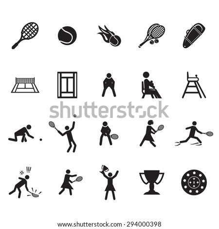 Tennis icons set - stock vector