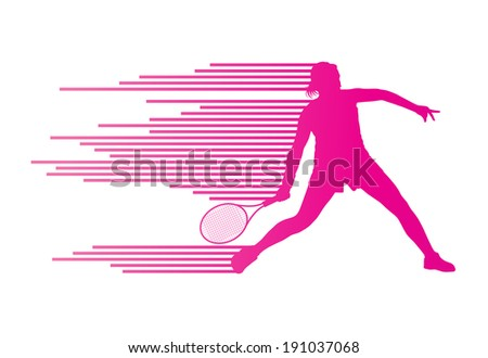 Tennis player abstract vector background concept made of stripes - stock vector