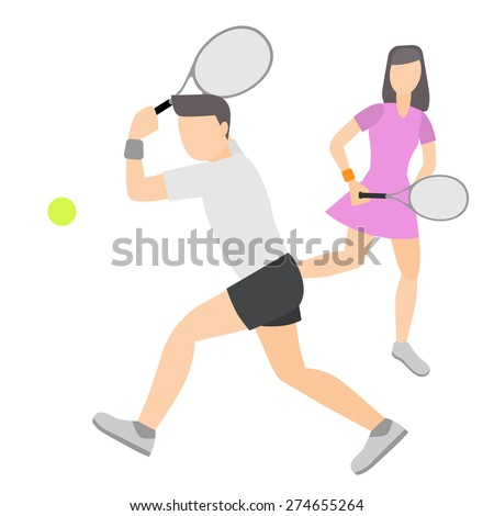 Tennis player couple double,vector illustration isolate on white background. - stock vector