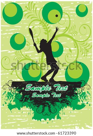 Tennis player in green floral background (part of full set)